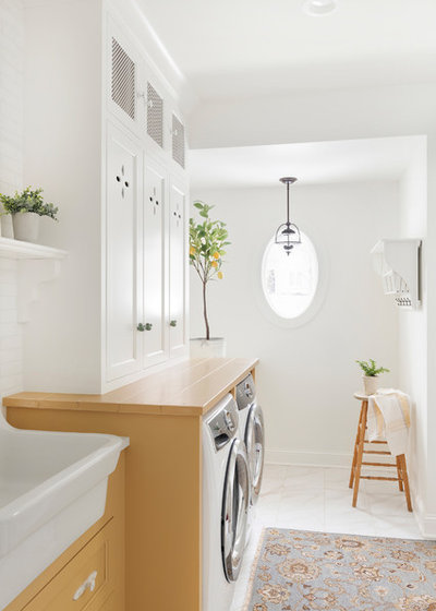 Farmhouse Laundry Room by Beautiful Chaos Interior Design & Styling