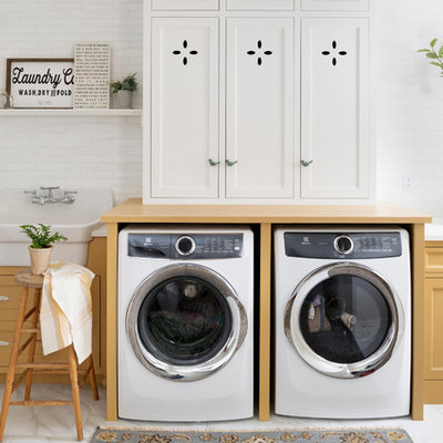 Utility room - mid-sized farmhouse single-wall white floor utility room idea in Minneapolis with a drop-in sink, beaded inset cabinets, yellow cabinets, a side-by-side washer/dryer and yellow countertops