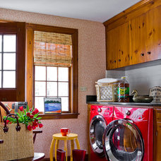 Eclectic Laundry Room by Katie Rosenfeld Design
