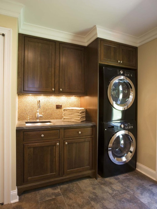 Traditional Laundry Room Idea In New York With A Stacked Washer/dryer Part 80