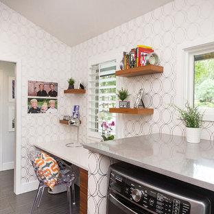 Laundry room - midcentury modern laundry room idea in Kansas City