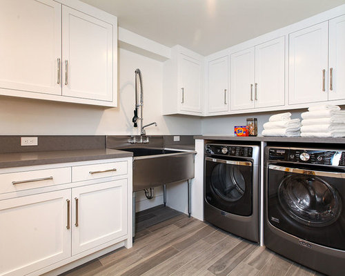 Huge Transitional L Shaped Porcelain Floor And Beige Floor Dedicated Laundry  Room Photo In San Part 36