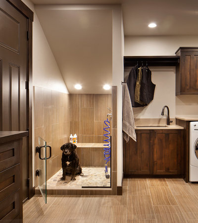 Rustic Laundry Room by Sage Interior Design