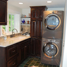 Eclectic Laundry Room by Leslie Stephens Design