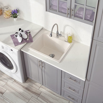 Quartz Classic Drop-In Laundry Sink with Perfect Drain, White