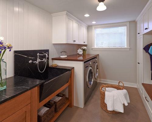buanderie avec un sol en b ton et un vier de ferme photos et id es d co de buanderies. Black Bedroom Furniture Sets. Home Design Ideas
