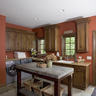 Recessed Square Distressed Pine Cabinetry with a ''Nut Brown'' Finish