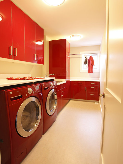 Red Washer Dryer Home Design Ideas, Pictures, Remodel and Decor