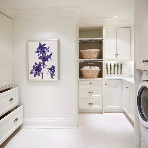 Mid Sized Traditional U Shaped Porcelain Floor Dedicated Laundry Room Idea  In Toronto With