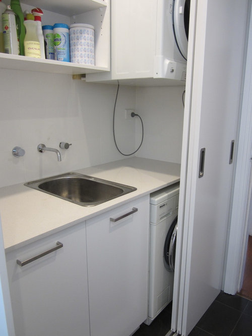 Small Hidden Laundry Room Design Ideas, Remodels & Photos with a Drop-In Sink