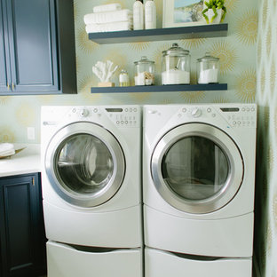 Inspiration for a timeless laundry room remodel in Salt Lake City with multicolored walls and a side-by-side washer/dryer