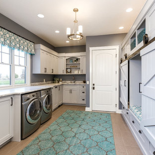 Elegant u-shaped utility room photo in Chicago with shaker cabinets, white cabinets and gray walls