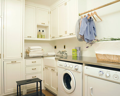 Traditional Laundry Room Idea In Los Angeles With A Farmhouse Sink, Stainless  Steel Countertops And