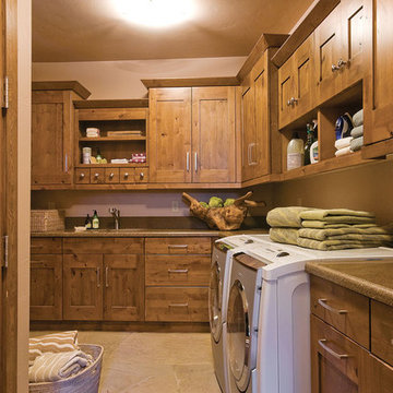 Rustic Laundry Room With Wood Accents
