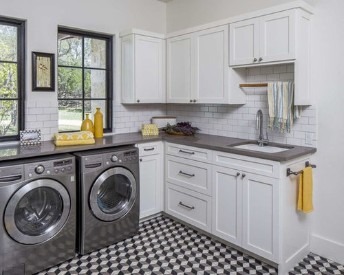 Large transitional l-shaped multicolored floor and ceramic floor dedicated laundry room photo in Austin & Black And White Tile Floor Laundry Room Ideas \u0026 Photos   Houzz