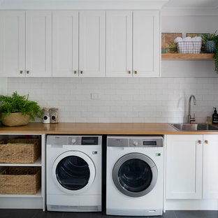 Farmhouse Laundry Room Photo In Brisbane