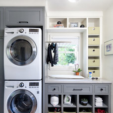 Transitional Laundry Room by Jessica Risko Smith Interior Design