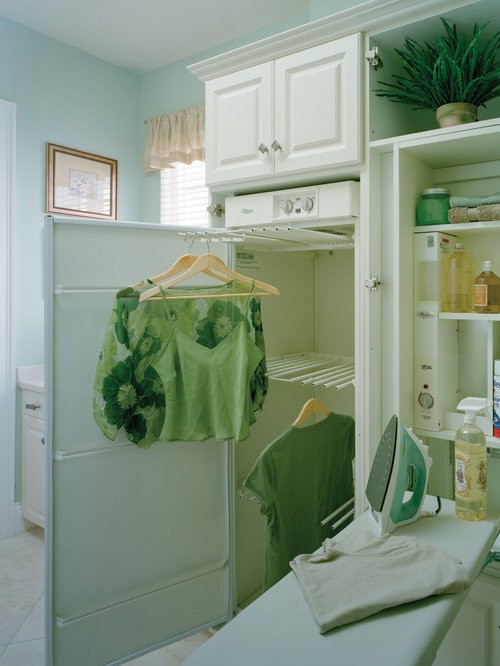 Traditional Single Wall Ceramic Floor Dedicated Laundry Room Idea In Miami  With Raised Panel