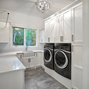 75 Most Por Modern U-Shaped Laundry Room Design Ideas for 2019 ... U Shaped Kitchen With Washer And Dryer Designs on kitchen design with high ceilings, kitchen design with butcher block island, bathroom layout with washer dryer, kitchen design with microwave, kitchen design with lots of storage, kitchen with undercounter washer dryer, kitchen design with refrigerator, kitchen sink washer and dryer, kitchen design layout with washer dryer in it,