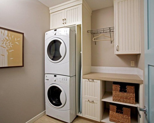 Inspiration For A Timeless Laundry Room Remodel In Calgary With A Stacked  Washer/dryer