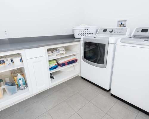 Best L-Shaped Laundry Room with Open Cabinets Design Ideas & Remodel Pictures | Houzz