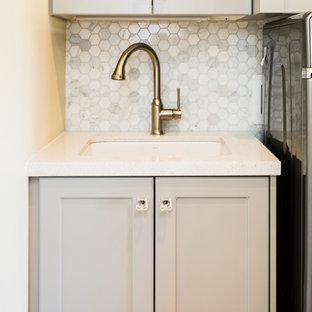 Laundry room in Salt Lake City with terrazzo benchtops.