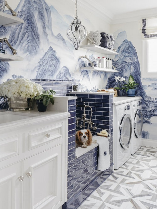 inspiration for a timeless floor utility room remodel in san francisco with beaded inset cabinets