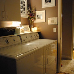 traditional laundry room Shelf over washer and dryer