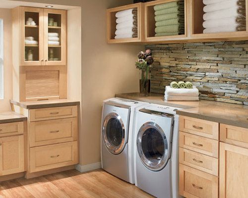 Dedicated Laundry Room Design Ideas, Remodels & Photos with Light Wood Cabinets