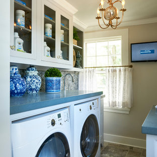 Inspiration for a large traditional l-shaped separated utility room in New York with open cabinets, white cabinets, composite countertops, beige walls, travertine flooring, a side by side washer and dryer and blue worktops.