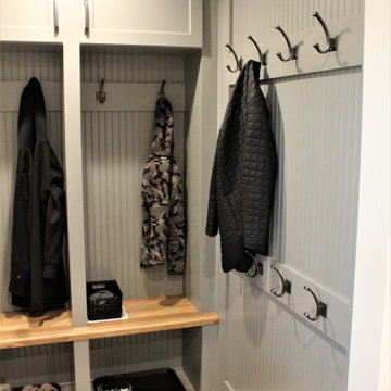 Showplace EVO Laundry Room in Concord Dovetail w/ Hickory Cognac Seating/Shelves
