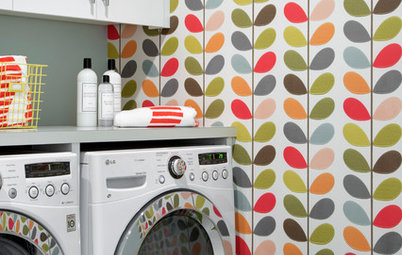 Bold Wallpaper Brings Color and Fun to the Laundry Room