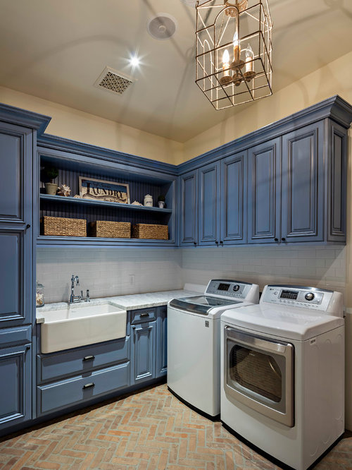 Countertop Materials For Laundry Room : Mid-Sized Laundry Room Design Ideas, Remodels & Photos with Quartzite ...
