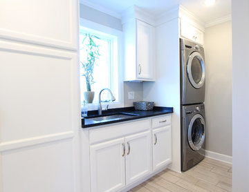 Stacked Washer and Dryer with Soapstone Countertops