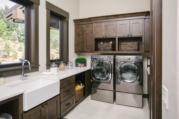 Transitional Laundry Room by Carey's Custom Woodworking, Inc