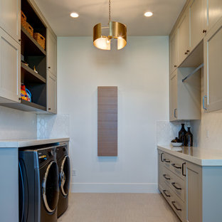 Dedicated laundry room - mid-sized contemporary galley ceramic floor and beige floor dedicated laundry room idea in Salt Lake City with white walls, shaker cabinets, beige cabinets, quartz countertops, a side-by-side washer/dryer and white countertops