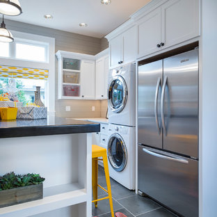 Inspiration for a transitional laundry room remodel in Portland