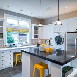 Distressed Cabinet Finish Yellow Wall Color Laundry Room