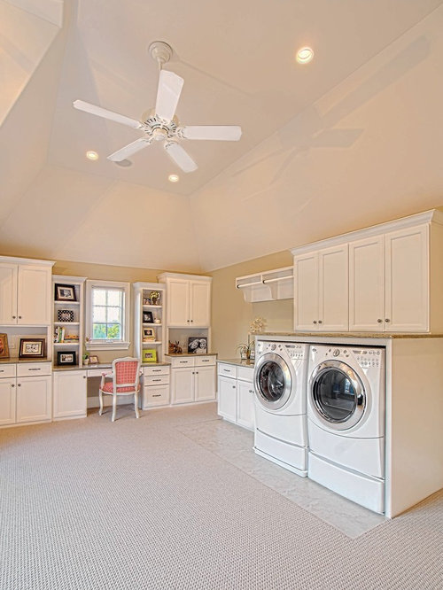 Home office laundry room design ideas remodels photos for Laundry room office