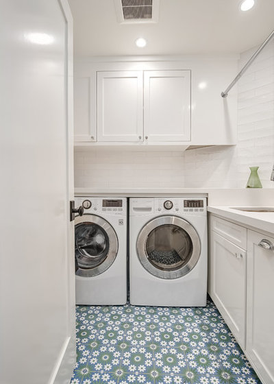 Transitional Laundry Room by Shear Construction