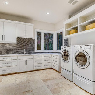 Inspiration for a contemporary laundry room remodel in Austin