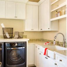 Transitional Laundry Room by Westlake Development Group, LLc