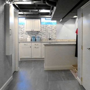 Inspiration for a contemporary laundry room remodel in Detroit