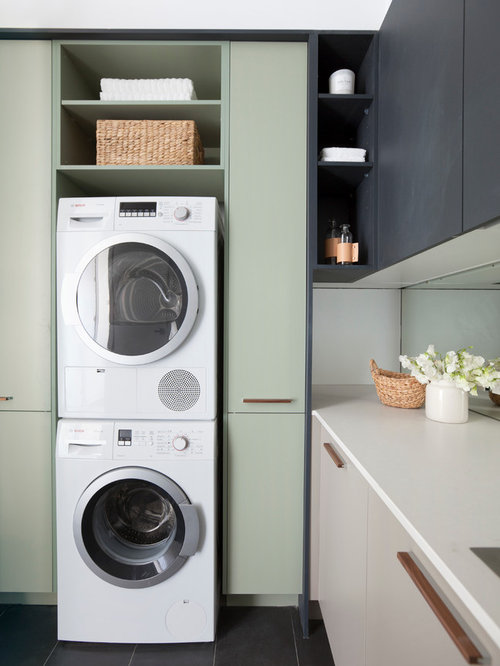 Houzz Modern Laundry Room With Black Cabinets Design