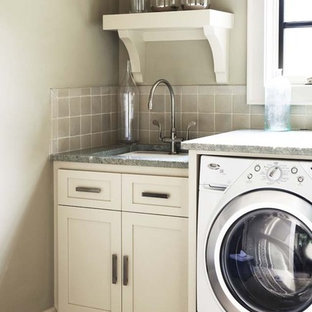 Dedicated laundry room - mid-sized contemporary dedicated laundry room idea in Other with white cabinets, gray walls, a side-by-side washer/dryer, an undermount sink, shaker cabinets and granite countertops