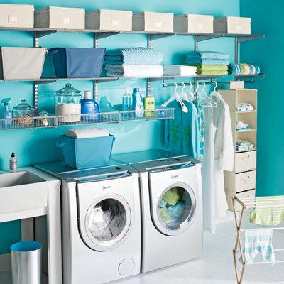 Contemporary Laundry Room The Container Store > Platinum elfa Laundry Center