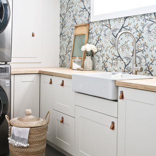 Inspiration for a modern laundry room in Edmonton.