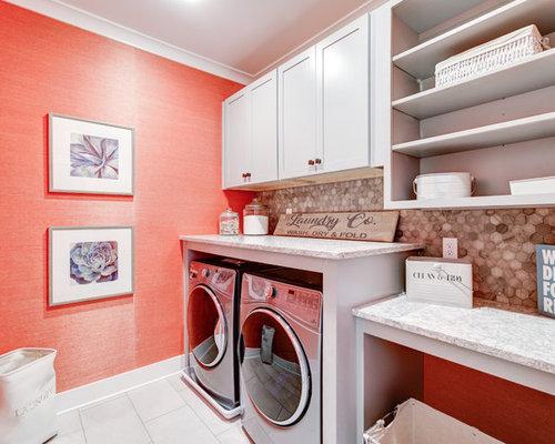 Foto e idee per lavanderie lavanderia in campagna con pareti arancioni