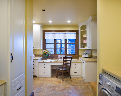 Inspiration For A Timeless Laundry Room Remodel In Portland With Yellow  Walls