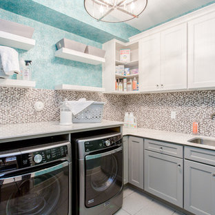 Dedicated laundry room - mid-sized transitional l-shaped dedicated laundry room idea in Richmond with an undermount sink, recessed-panel cabinets, white cabinets, blue walls and a side-by-side washer/dryer